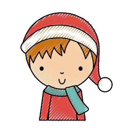 scribble cute upper body christsmas little boy vector illustration graphic design Illustration