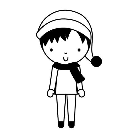 cute black icon christmas little boy vector illustration graphic design Illustration