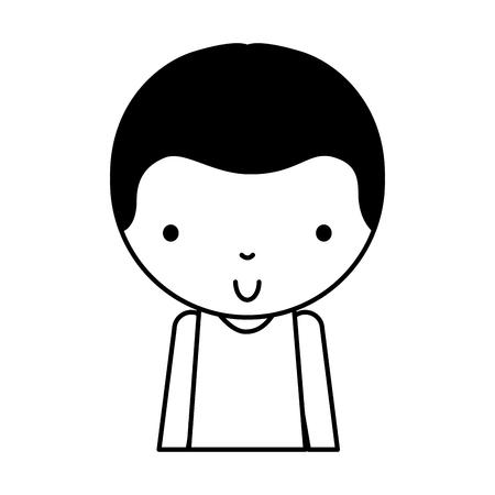 black icon cute upper body little boy vector illustration graphic design