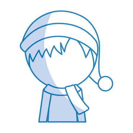 shadow cute christmas upperbody little boy vector illustration graphic design Illustration