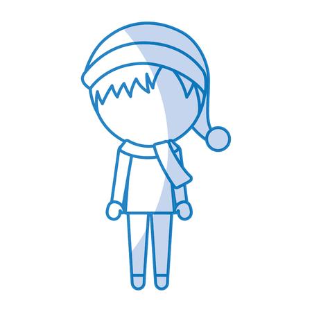 cute shadow christmas little boy vector illustration graphic design