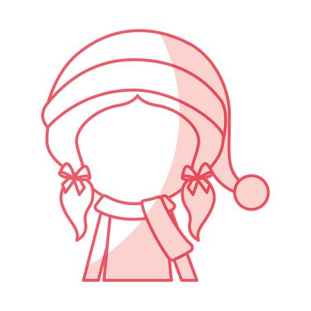 shadow christmas cute upper body little girl vector illustration graphic design Illustration