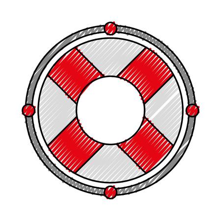 scribble cute red lifebuoy icon cartoon vector graphic design