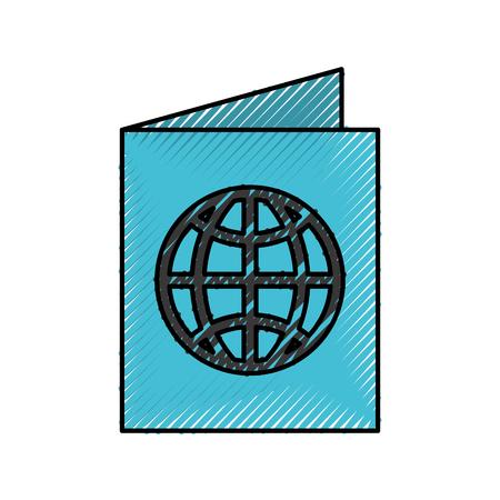 scribble blue passport cartoon vector graphic design Illustration