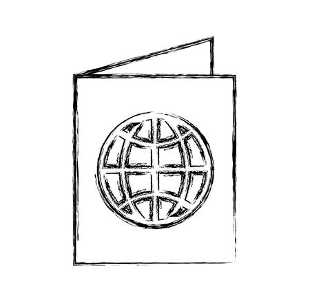 sketch draw passport cartoon vector graphic design
