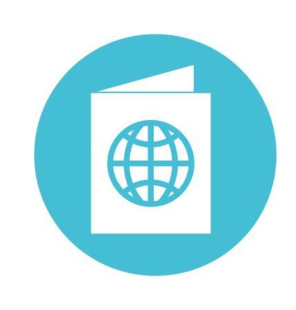 丸いアイコンの青いパスポート漫画ベクトル グラフィック デザイン