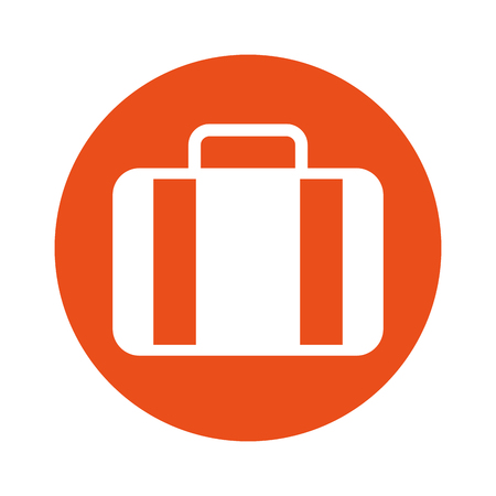round icon orange suitcase cartoon vector graphic design