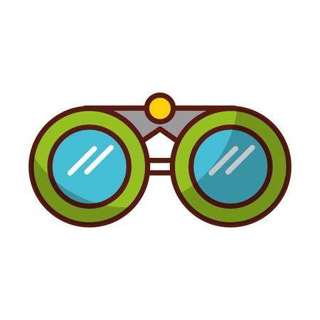 shadow green binoculars cartoon vector graphic design