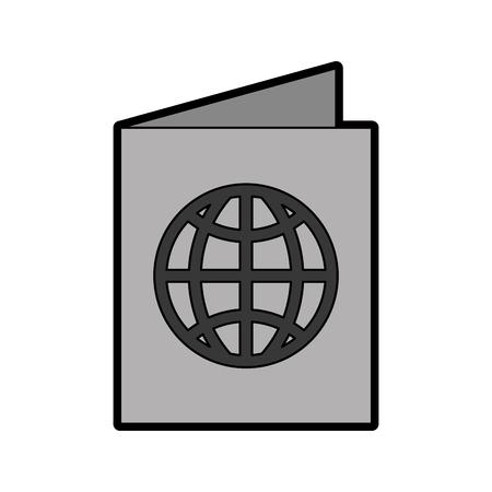 cute grey passport cartoon vector graphic design Illustration