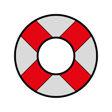 cute red lifebuoy icon cartoon vector graphic design