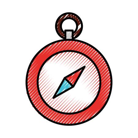 scribble schattig rood kompas cartoon vector grafisch ontwerp