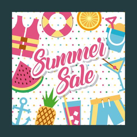 summer sale background illustration icon design vector graphic Illustration