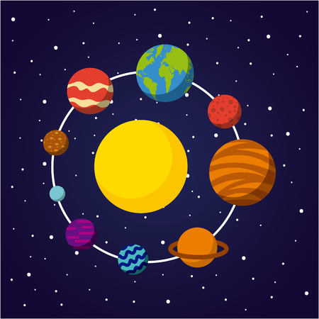 태양계 평면 아이콘 벡터 일러스트 디자인 그래픽