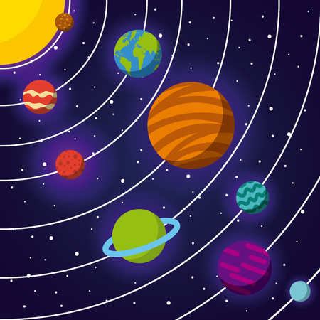 Sistema solar icono plano ilustración vectorial diseño gráfico Foto de archivo - 79923375