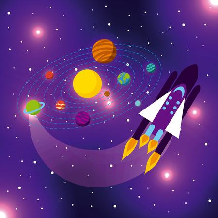 solar system flat icon vector illustration design graphic