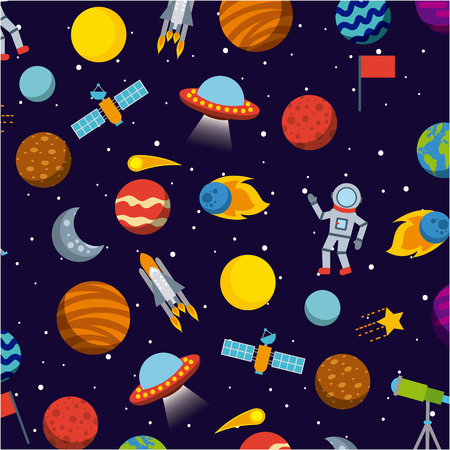 solar system icons set flat illustration design graphic vector