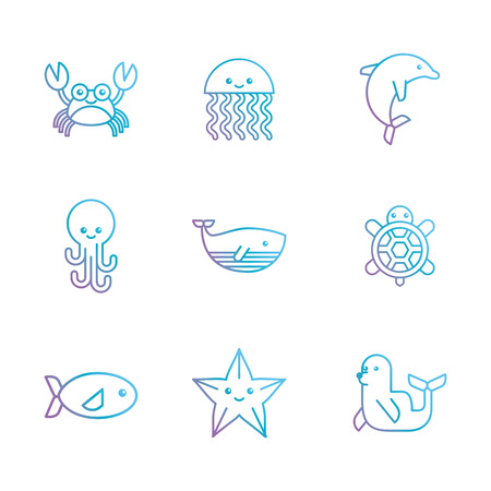 underwater fishes: sea life icons set flat draw illustration vector design graphic