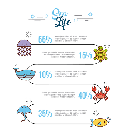 Sea life flat draw icon vector illustration design graphic