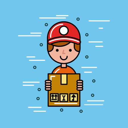 global logistic person cartoon vector illustration icon design graphic Illustration
