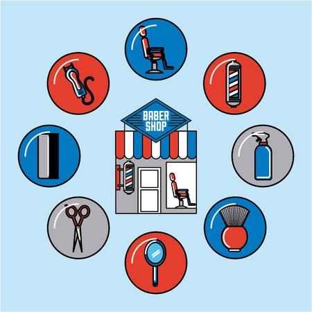 Icons set barber shop illustration icon vector graphic design Illustration