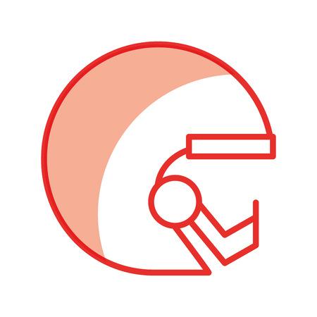 cute shadow red football helmet cartoon vector graphic design