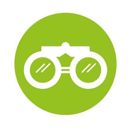 round icon green binoculars cartoon vector graphic design
