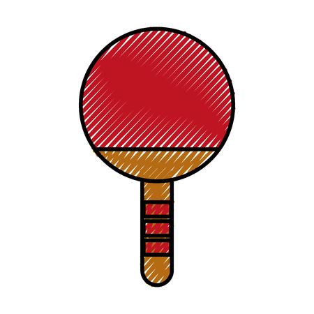 Krabbel rode Ping pong racket cartoon vector grafische vormgeving