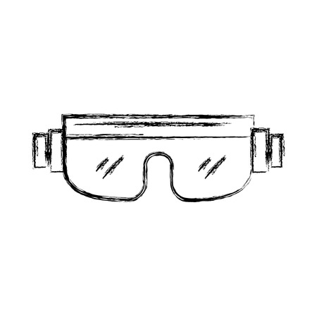 sketch draw snowboard protective glasses cartoon vector graphic design Illustration