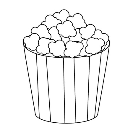 pop corn bucket icon over white background vector illustration