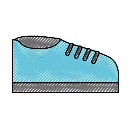 Vektor-Grafikdesign der blauen Schuhkarikatur des Kritzels Standard-Bild - 79942880