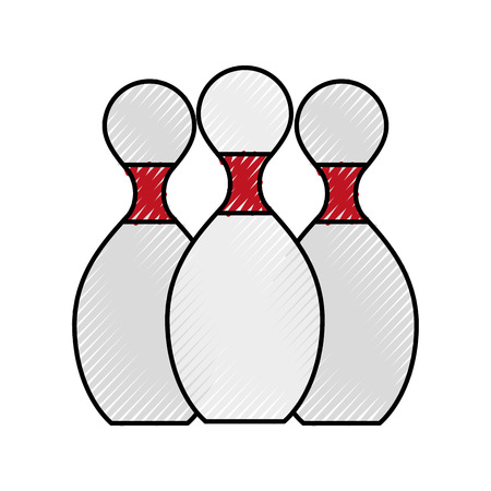 spare: scribble bowling pins cartoon vector graphic design