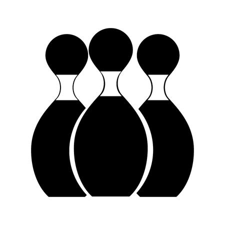 black icon bowling pins cartoon vector graphic design