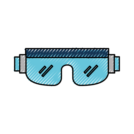 scribble snowboard protective glasses cartoon vector graphic design