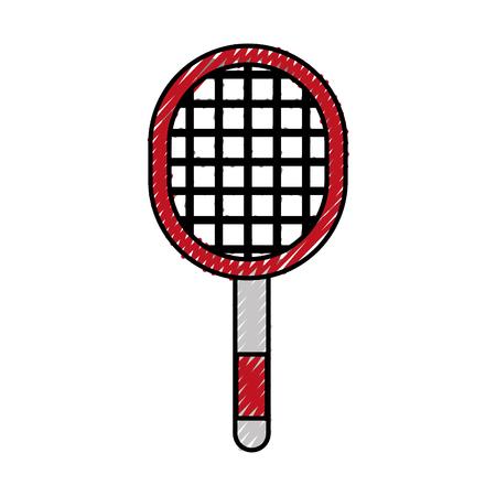 cute scribble red sport racket cartoon vector graphic design