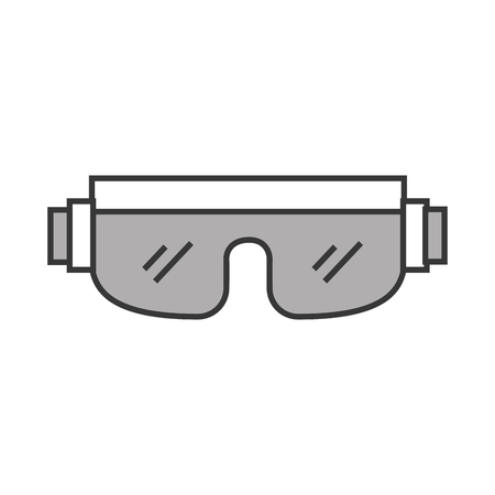 cute grey snowboard protective glasses cartoon vector graphic design