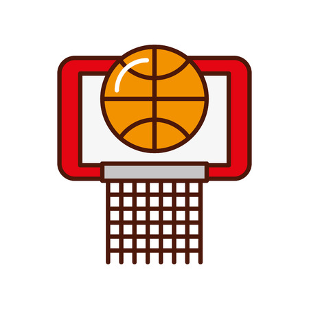 shadow red basket ball in the hoop cartoon vector graphic design