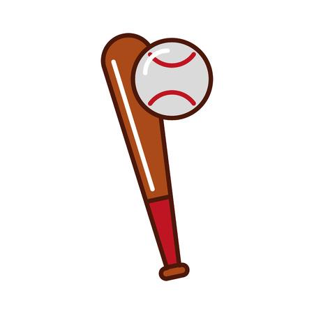 brightly baseball ball and bat vector grpahic design