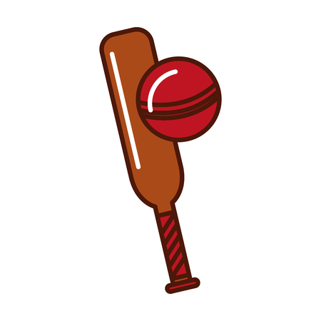 brightly cricket ball and bat cartoon vector graphic design Illustration