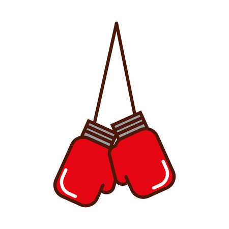 brightly hanging boxing gloves cartoon vector graphic design Illustration