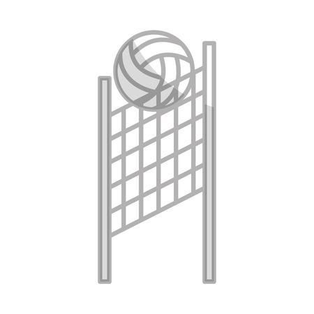 シャドウ グレー バレーボール ネットとボール漫画  イラスト・ベクター素材