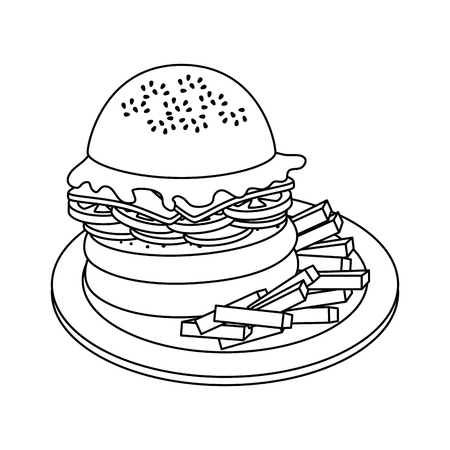 hamburger and french fries  icon over white background vector illustration Stock Vector - 79942943