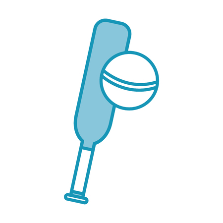 blue cricket ball and bat cartoon vector graphic design
