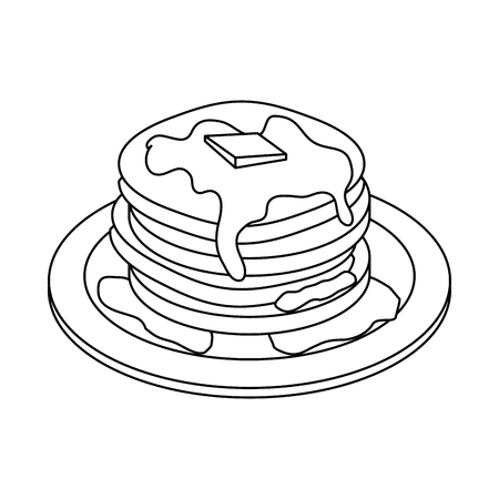 pannenkoeken pictogram over witte achtergrond vectorillustratie