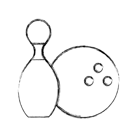 cute sketch draw pin and ball cartoon vector graphic design