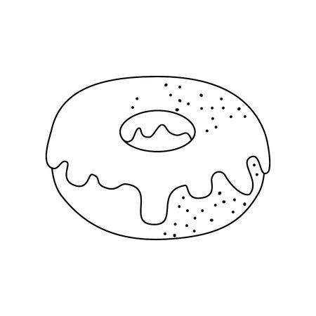sweet donut icon over white background vector illustration Çizim