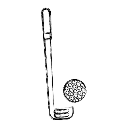 sketch draw golf club and ball vector graphic design