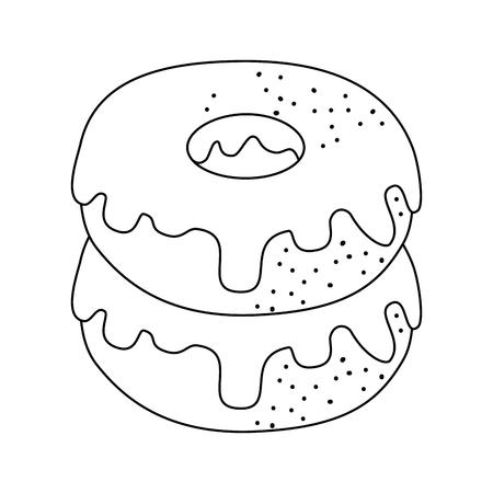 白い背景のベクトル図に甘いドーナツ アイコン