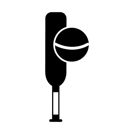 black icon cricket ball and bat cartoon vector graphic design Ilustração