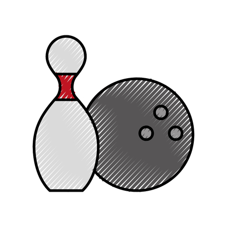 かわいい落書きピンとボール漫画ベクトル グラフィック デザイン