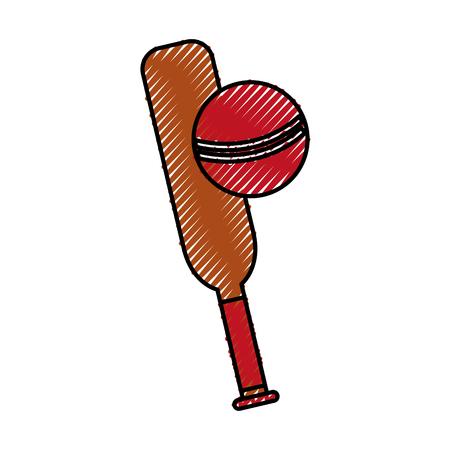 scribble cricket ball and bat cartoon vector graphic design Illustration